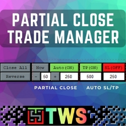 TWS – Partial Close Trade Manager - This is a very simple, and easy-to-use Trade Manager with features like Auto Partial Close, Auto Take-Profit/Stop-loss, Reverse trade, Close all